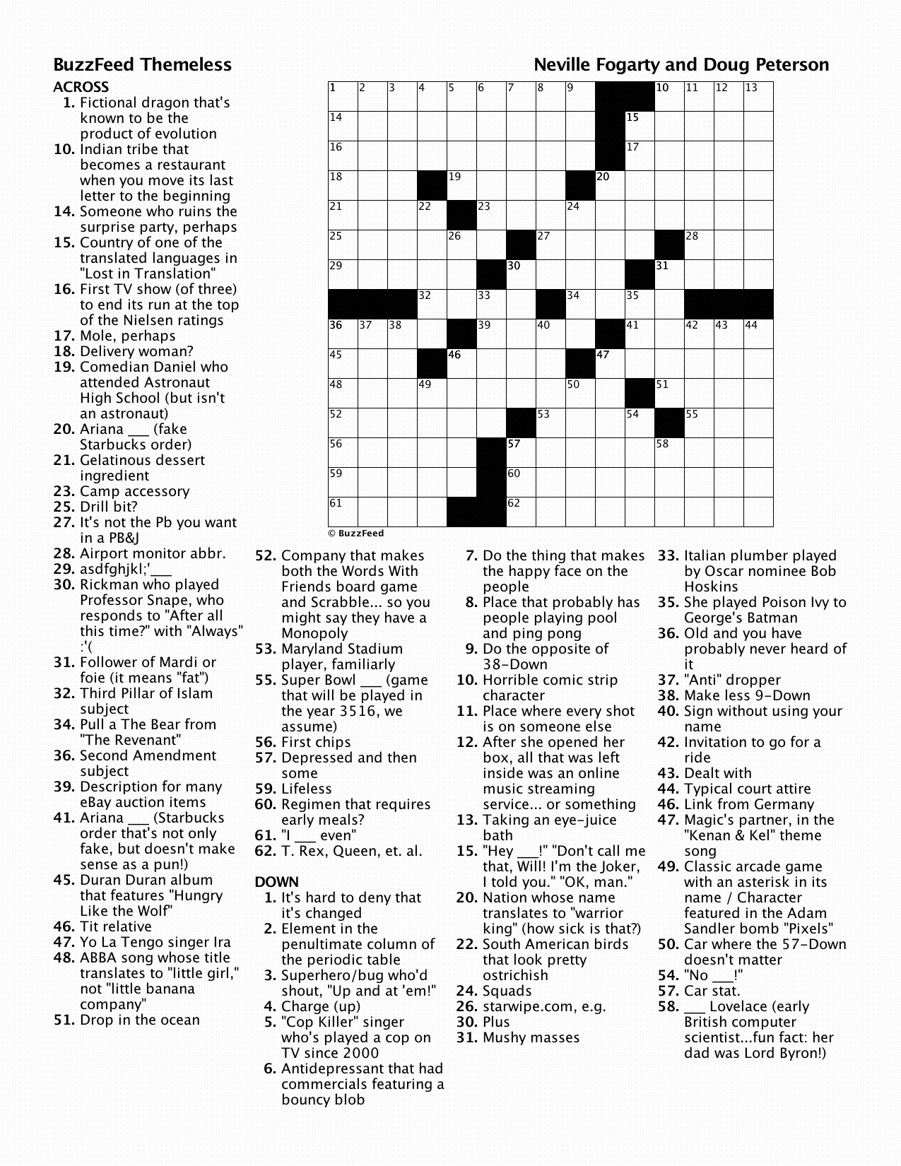 BuzzFeed Crossword: Freestyle Challenge